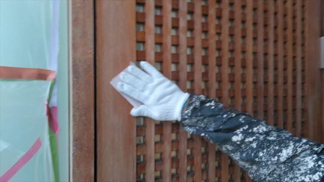 玄関クリア塗装