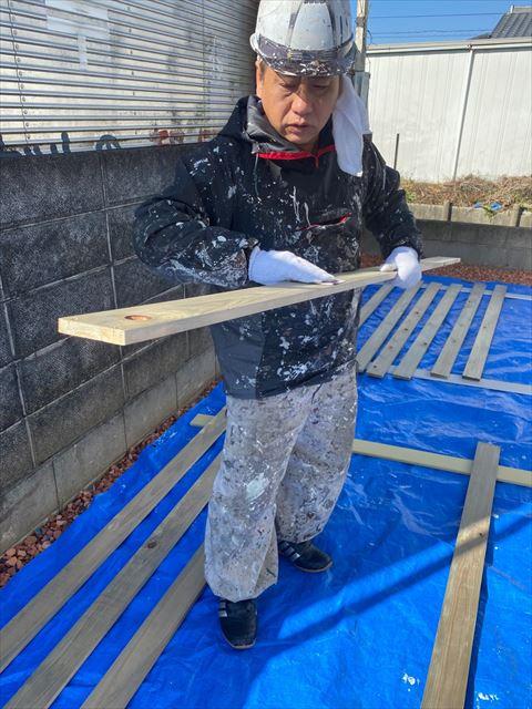 木の塀塗装