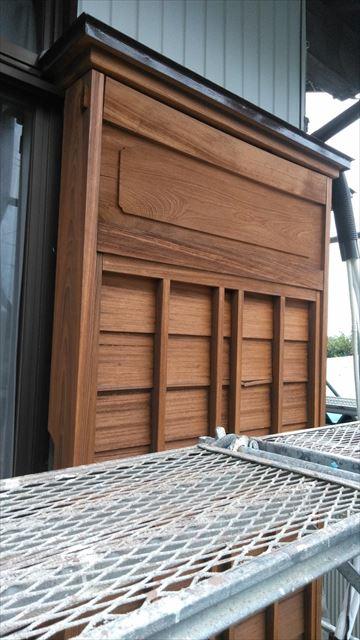 雨戸の戸箱作業