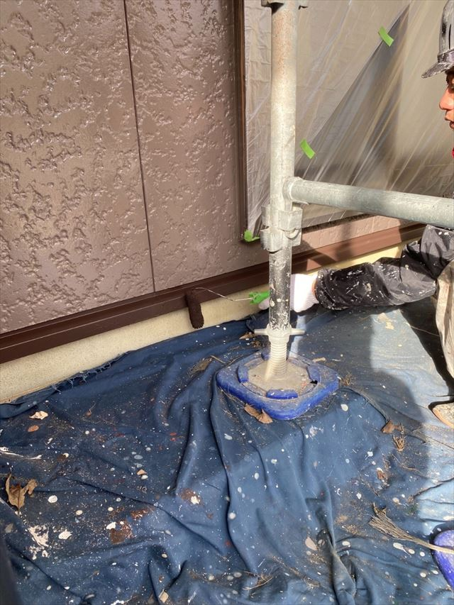 土台水切り作業