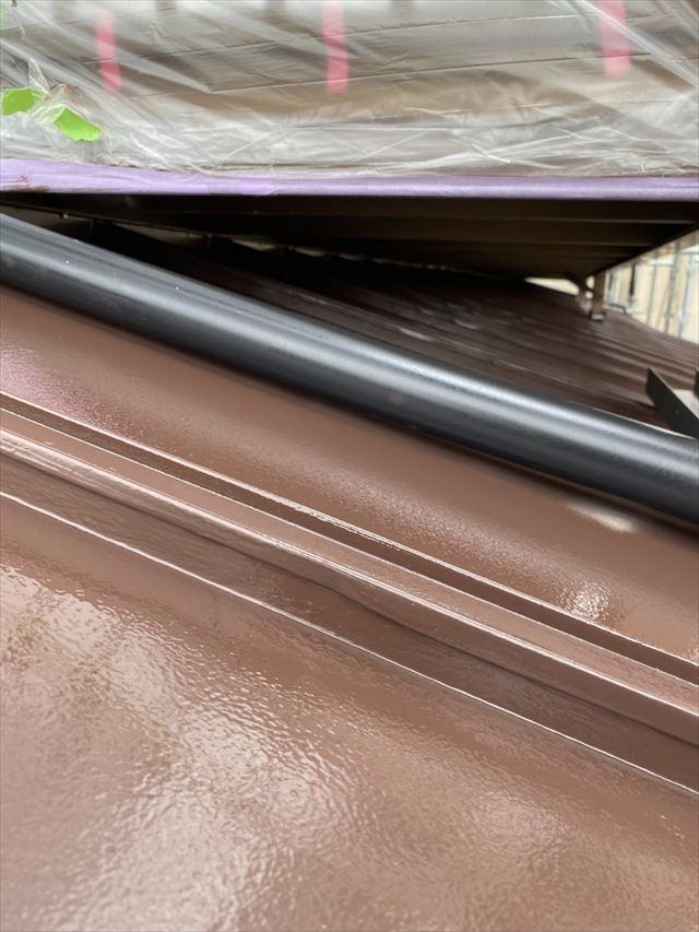 瓦棒屋根上縦樋作業